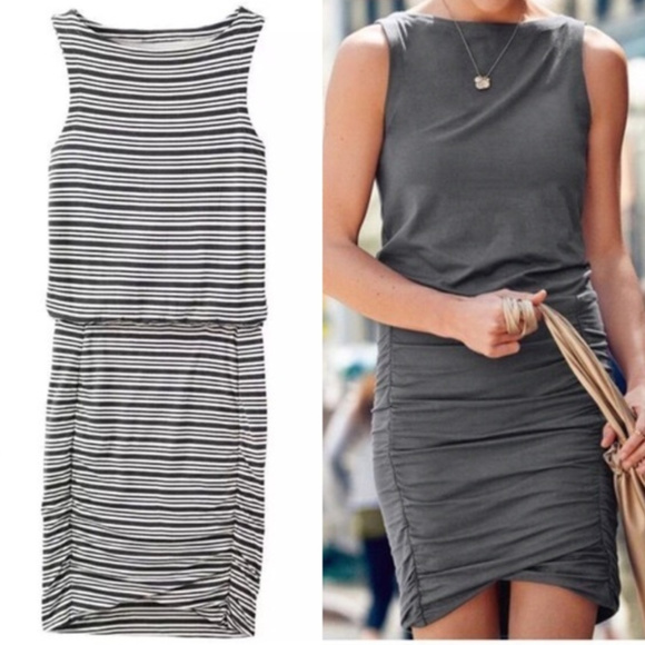 Athleta Dresses & Skirts - Athleta Striped Tulip Dress with Ruched Skirt